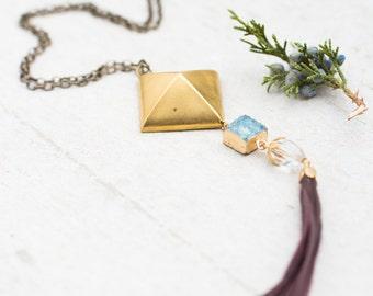 Square Pendant and Blue Quartz Tassel Necklace, Tassel and Gemstone Necklace