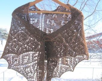 Alpaca Shawl, Hand Knit Brown Alpaca Wool Shawlette, Triangle Scarf, Alpaca Wrap for Women, Christmas Gift