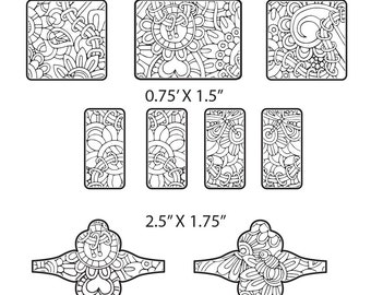 Combo Digital Pattern for Etching Floral Cuff Bracelet, Earring, Ring Download -cuff-combo-2