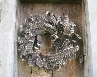TURKEY FEATHER WREATH   ornamental winter holiday decoration  for door or wall