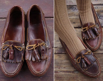 OXFORD 1980's Men's Vintage Dark Brown Leather Loafers with Tassels // size 8.5 M // Made in Brazil
