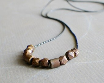 copper beads on oxidized sterling silver necklace, modern minimalist jewelry, morse code necklace, gift for her
