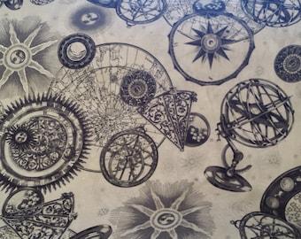 Hoffman Celestial Sun Gazing Parchment Creme Gray Silver Metalic Cotton Fabric 1 Yard