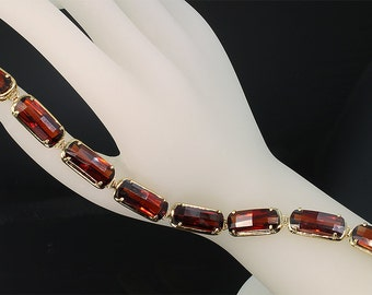 Vintage! Gorgeous Garnet and 14K Gold Bracelet