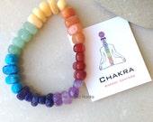 Chakra Bracelet, Rainbow Gemstone Beaded Bracelet,  7 Genuine Gemstones, Healing Gemstones, Yoga Jewelry, Reiki Jewelry