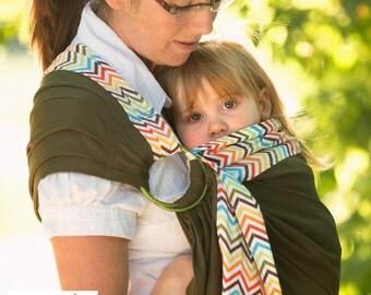 Sewfunky Designer Adjustable Baby Sling certified organic cotton Chevron on Olive