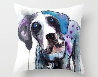 Dog Pillow, Dog Cushion, Dog Art Pillow, Great Dane, Throw Cushion, Decorative Cushion, Cushion Cover, Puppy Pillow, Dog Lover Gift, Dog Art