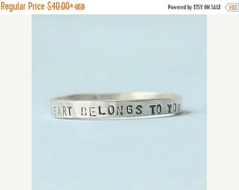 ON SALE My HEART Belongs to You stacking ring, eco-friendly silver or 14kt gold. Handcrafted by Chocolate and Steel love quote ring