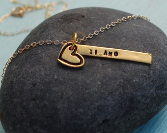TI AMO stick pendant, Italian 'I love you' necklace with heart, 14kt gold vermeil.  Handcrafted by Chocolate and Steel