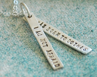 Empowerment quote pendant - JOAN of ARC quote - handmade sterling silver necklace by Chocolate and Steel