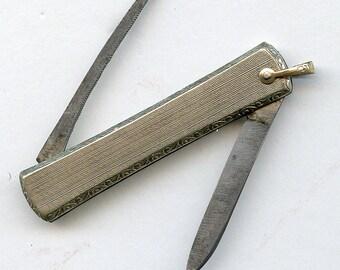 Pen Knife Pocket Fob 14K Gold Filled Vintage Antique Engraved Silver 2581