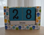 Perpetual Wooden Block Calendar - Roaming Monsters and Dinosaurs for Boys