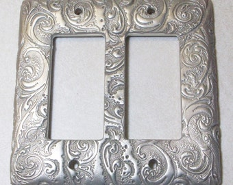 Silver Swirls double toggle rocker light switch cover