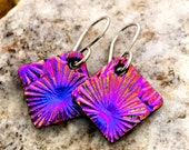 SMALL DICHROIC EARRINGS Purple/Pink Simple Little Sterling Silver & Fused Glass