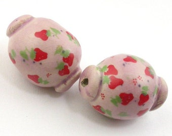 Ceramic Beads, Stoneware Beads, Pottery Beads, Strawberry Beads, Pink Beads, Pink and Red Beads, Artist Beads, Pair of beads, Oval Beads