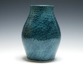 Teal Vase with Raised Dots