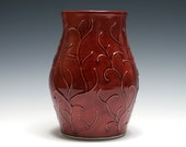 Rhubarb Red Vase with Raised Branch Design