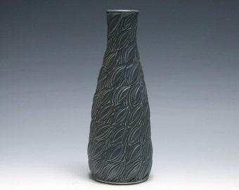 Carved Leaf Vase in Midnight Blue