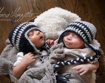 Blue Striped Crochet Aviator Hat with Braids