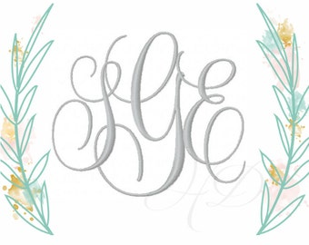1 and 2 inch Embroidery Font Interlocking Vine Monogram Evie BX Font instant download PES 4x4 5x7 6x10 All Formats