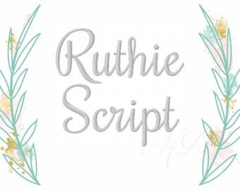 """3"""" inch Script Font Cursive Monogram Embroidery Font Ruthie BX  4x4 5x7 6x10  BX instant download"""