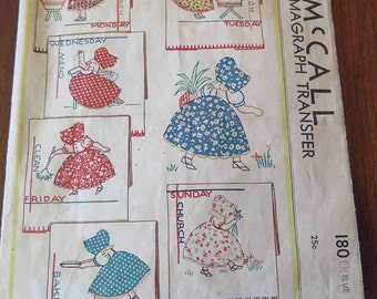 Vintage 1933 McCall 180 Kaumagraph Transfer Pattern Day of the Week Applique Embroidery
