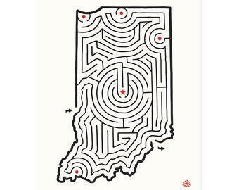 "8x10"" INDIANA Maze Print 