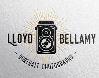 custom premade camera logo ++ business photographer artist ++ vintage americana ++ retro hipster handmade design