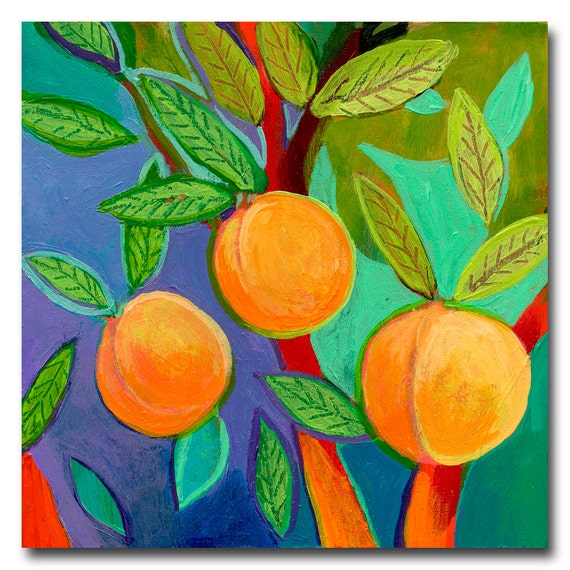 The NeverEnding Story No 124 (apricots) - ORIGINAL Painting on 6x6 Wood Block by JENLO