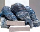 "Blue Grey Art Batt, PHAT FIBER Ex Libris ""Jonathan L. Seagull"" Silver grey Navy slate light blue rust white, needle nuno felt spinning fiber"