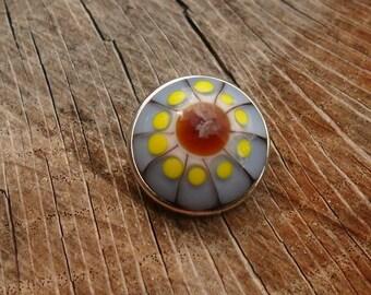 Snap Charm Periwinkle Yellow White Brown Lampwork 18 mm Snap Artisan Handmade Glassymom