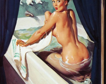 Pin up girl in bath tub*Jeepers Creepers*Quilt art fabric block*Quilts,Pillows,Sachets,Frame