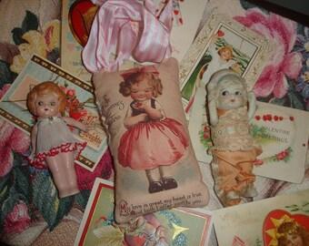 Valentine little girl*Lavender sachet*Quotation*O darling*Ribbon*Love Love Love*Very precious