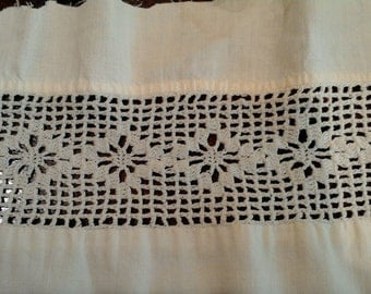 """Vintage Lace - White- 38"""" x 2""""-Crochet- All profits go to charity"""