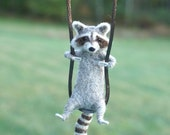 Tiny Needle Felted Raccoon/Necklace