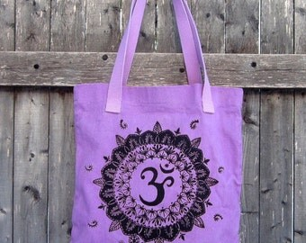 Om Hand-dyed Tote Bag, Apple Lime Green, Violet Purple, Pink, Persimmon Orange, Gray