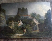 "Beautiful color 11"" x 14"" print on canvas of possible J.M.W. Turner original oil painting on wood, late 1700s, English rural village scene"