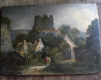 """Beautiful color 11"""" x 14"""" print on canvas of possible J.M.W. Turner original oil painting on wood, late 1700s, English rural village scene"""