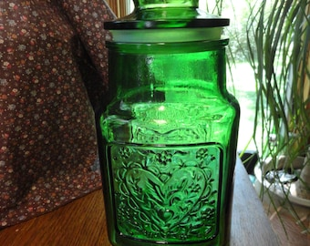 Wheaton Large Green Glass Canister or Cooke Jar Wheaton Glass