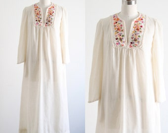 Vintage Muslin Tunic Dress with Embroidery