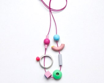 Wooden colourful, necklace ,beads , one of a kind, jewellery, hand made, for her, gift,