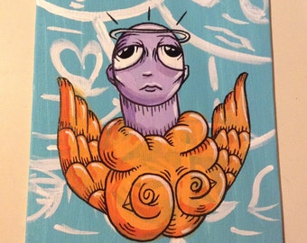"JOS-L Original Art  6"" X 8"" Canvas Board  Painting Angel Bird Pop Abstract Outsider Graffiti Surreal Lowbrow Illustration"
