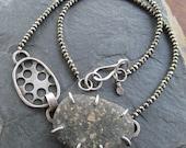 Silver Beach Stone Short Necklace Pyrite Biology Choker Statement