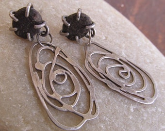 Silver Hoop Beach Stone Earrings studs Dangles Funky Scribble stamped Swirl Dangling Post Stud Earrings