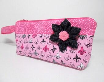 Fleur De Lis Wristlet, Pink and Black Wristlet, Wristlet with Kanzashi Brooch