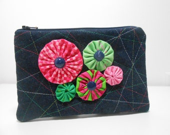 Denin Quilted Coin Purse Pink and Green Embellished with Yo Yo Flowers Zipper Pouch