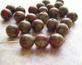 Red and Green Glass Beads 8mm Round Opaque Picasso Finish  Premium Quality 20 Beads