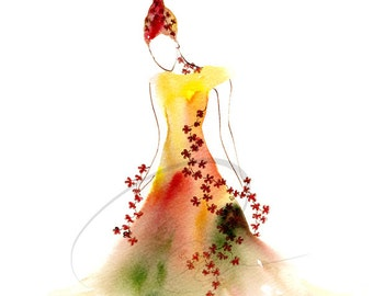 Melt Away Memory - fiery red hair magic fire spirit woman flower dress  Watercolor Painting Available in Paper and Canvas by Olga Cuttell