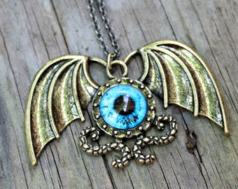 Brass Industrial Steampunk Dragon Eye and Wing Pendant Necklace with 18 Inch Brass Chain