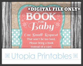 Teal Coral Book For Baby Shower Book Request Card Insert Flower Floral Theme Digital Printable Aqua Blue Turquoise Brown Tan Beige